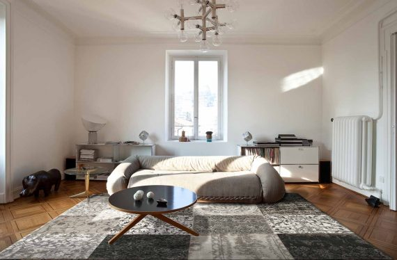 tapijt Louis De Poortere PT8101 Vintage Black White interior