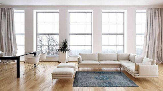 tapijt Louis De Poortere PT8255 Fading World Medaillon Grey Turquoise interior